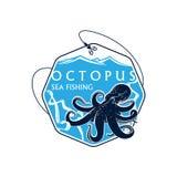 Overzeese visserij vectorpictogram van octopus en vissenstaaf royalty-vrije illustratie