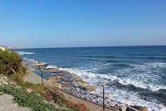 Overzeese voorzijde in Amathus Limassol stock foto's