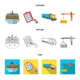 Overzeese vracht, ondertekening van leveringsdocumenten, vrachtwagen, torenkraan met een container Logistiek en leverings vastges royalty-vrije illustratie