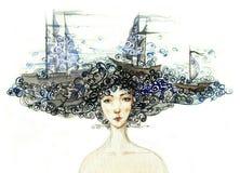 Overzeese vrouw stock illustratie