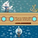 Overzeese wolf, overzees en oceaan, zeeman en schepen, banners Royalty-vrije Stock Afbeelding