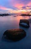 Overzeese zandzon en steen Royalty-vrije Stock Fotografie