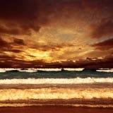 Overzeese zonsondergang Stock Foto's