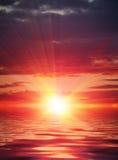 Overzeese zonsondergang Royalty-vrije Stock Foto's