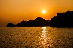 Overzeese Zonsondergang, Halong-Baai, Vietnam Stock Afbeelding