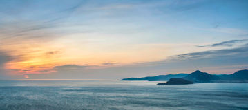 Overzeese zonsondergang in montenegro Royalty-vrije Stock Foto