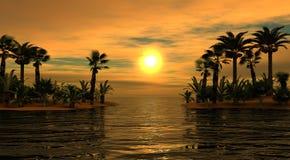 Overzeese zonsondergang Palma Eilanden Panorama van overzeese zonsondergang, zonsopgang stock illustratie