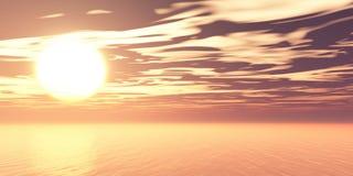 Overzeese zonsondergang of zonsopgang heldere kleurrijke achtergrond Royalty-vrije Stock Foto's