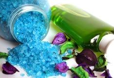 Overzeese zout en shampoo Stock Foto