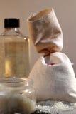 Overzeese zoute zak en doos Stock Fotografie