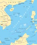 Overzeese Zuid- van China Eilanden, politieke kaart vector illustratie