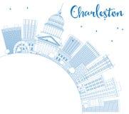 Overzicht Charleston Skyline met Blauwe Gebouwen en Exemplaarruimte Stock Fotografie