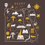Overzicht en silhouetkaart van Egypte - vectorillustratiehand die met zwarte lijnen wordt getrokken royalty-vrije illustratie