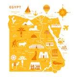 Overzicht en silhouetkaart van Egypte - vectorillustratiehand die met zwarte lijnen wordt getrokken stock illustratie
