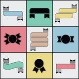 Overzicht en silhouetlint vastgestelde pictogrammen Royalty-vrije Illustratie