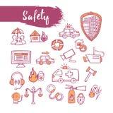 Overzicht geschetste pictogrammen geplaatst veiligheidsthema Lijnart. Potlood drawin Royalty-vrije Stock Foto
