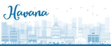 Overzicht Havana Skyline met de Blauwe Bouw Royalty-vrije Stock Foto