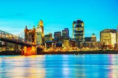 Overzicht het van de binnenstad van Cincinnati Royalty-vrije Stock Afbeeldingen