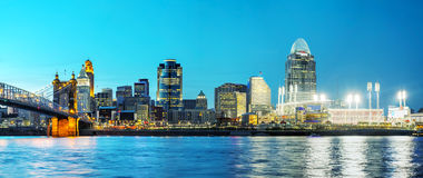 Overzicht het van de binnenstad van Cincinnati Royalty-vrije Stock Foto's