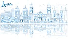 Overzicht Lima Skyline met Blauwe Gebouwen en Bezinningen Royalty-vrije Stock Fotografie
