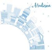 Overzicht Madison Skyline met Blauwe Gebouwen en Exemplaarruimte Stock Afbeelding