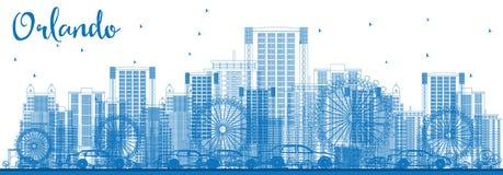 Overzicht Orlando Skyline met Blauwe Gebouwen royalty-vrije illustratie