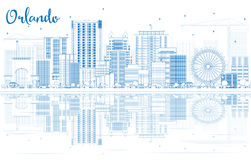 Overzicht Orlando Skyline met Blauwe Gebouwen en Bezinningen vector illustratie