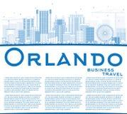 Overzicht Orlando Skyline met Blauwe Gebouwen en Exemplaarruimte stock illustratie