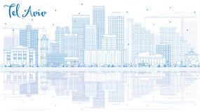 Overzicht Tel. Aviv Skyline met Blauwe Gebouwen en Bezinningen vector illustratie