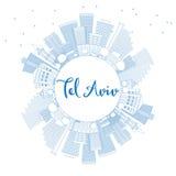 Overzicht Tel. Aviv Skyline met Blauwe Gebouwen en Exemplaarruimte stock illustratie
