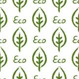 Overzicht van blad en tekst Eco Ecologisch naadloos patroon Getrokken door hand vector illustratie
