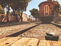 Overzicht van de sporen en een wagen, in het oude station in Tel Aviv, Israël stock afbeeldingen