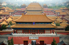 Overzicht van de verboden stad in Peking, China Stock Foto