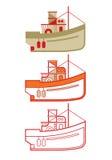 Overzicht van de visserij van boatOutline van vissersboot Royalty-vrije Stock Afbeelding