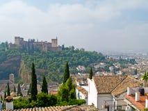 Overzicht van Granada en Algambra Stock Afbeeldingen
