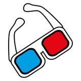 Overzicht van het de bioskoopontwerp van de glazen 3d film Royalty-vrije Illustratie