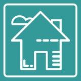 Overzicht van het huis het vlakke pictogram royalty-vrije stock fotografie