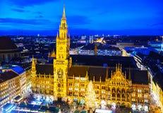 Overzicht van Marienplatz in München Royalty-vrije Stock Foto