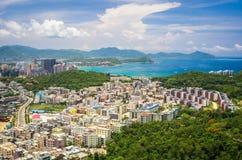 Overzicht van Sanya-stad, Hainan-Provincie, China Stock Foto