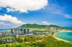 Overzicht van Sanya-stad, Hainan-Provincie, China Royalty-vrije Stock Foto's