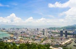 Overzicht van Sanya-stad, Hainan-Provincie, China Stock Afbeelding
