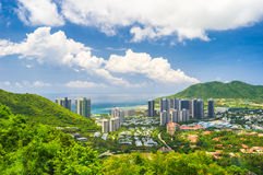 Overzicht van Sanya-stad, Hainan-Provincie, China Stock Fotografie