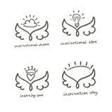 Overzicht van vleugels met hart, kroon, idee, wolk en zon vier vectorsymbolen royalty-vrije illustratie