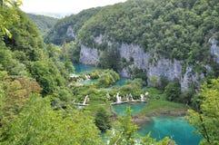 Overzicht van watervallen Plitvice Stock Foto's