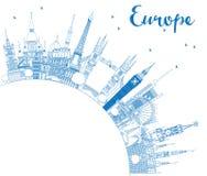 Overzichts Beroemde Oriëntatiepunten in Europa met Exemplaarruimte Stock Afbeelding