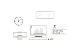 Overzichts financieel die pictogram op witte achtergrond, vectorillustratie wordt geplaatst Stock Foto's