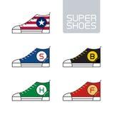 Overzichts stedelijke super schoenen Vector Gestileerde tennisschoenen Sportpictogram, Stock Foto's