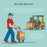 Overzichts vlakke illustratie van distributiegoederen van pakhuis door vorkheftruck, mens met leveringskar logistisch Royalty-vrije Stock Afbeeldingen