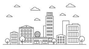 Overzichtscityscape het ontwerpconcept van de landschapshorizon met gebouwen, scyscrapers, bomen, wolken, de koffie van de doughn royalty-vrije illustratie