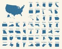 Overzichtskaart van de Verenigde Staten van Amerika 50 staten van de V.S. royalty-vrije illustratie